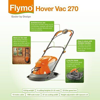 Flymo Hover Vac 270 Hover Collect Mower Brand New
