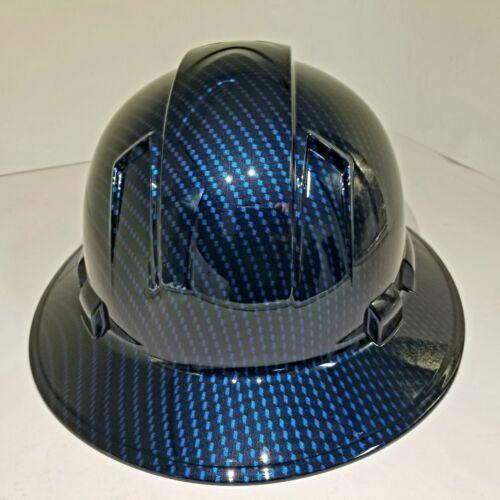 NEW FULL BRIM Hard Hat custom hydro dipped Deep blue candy carbon fiber sick  2