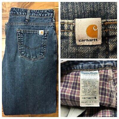Carhartt Flannel Insulated Jeans Womens 14 X 30 Lined Blue Denim Work Wear 34x30 Carhartt Womens Work Jeans