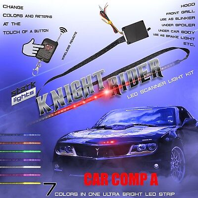 - 7 Color 48 LED RGB Knight Rider Scanner Flash Car Strobe Light Kit Strip 22 Inch