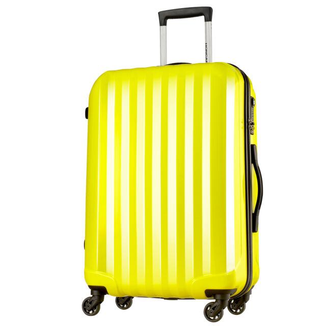 24 inch single PC luggage 4 spinner wheels suitcase TSA lock Ultra light Yellow