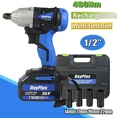 Cordless Impact Wrench 1/2 inch Driver 21V 460N.m High Torque with 4 Socket Set
