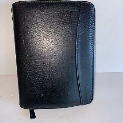 Organizer Planner 6 Ring Black Leather Memo Pad Zip Around 6 X 8 Filter Queen