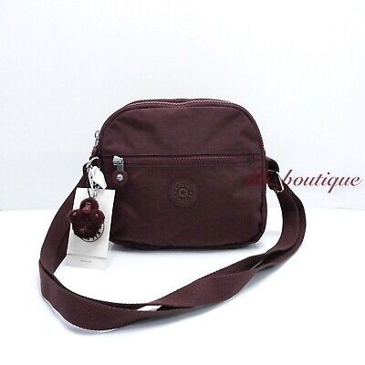 NWT Kipling HB6467 Keefe Shoulder Crossbody Bag Double Zip Nylon BOHO Brown $79