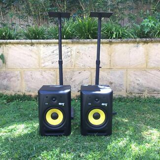"""KRK 8"""" Speakers (Pair) & Stands (Pair)"""
