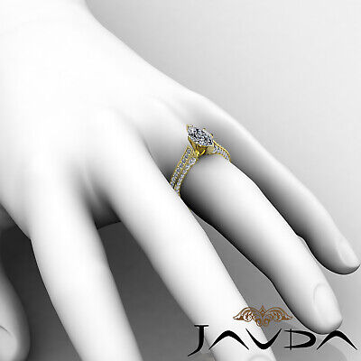 Micro Pave Set Marquise Diamond Engagement Ring GIA Certified I Color SI1 2 Ct 11