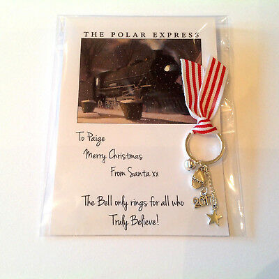 Polar Express Bell Personalised Key ring Christmas Eve box bell Stocking filler  - Polar Express Party Supplies