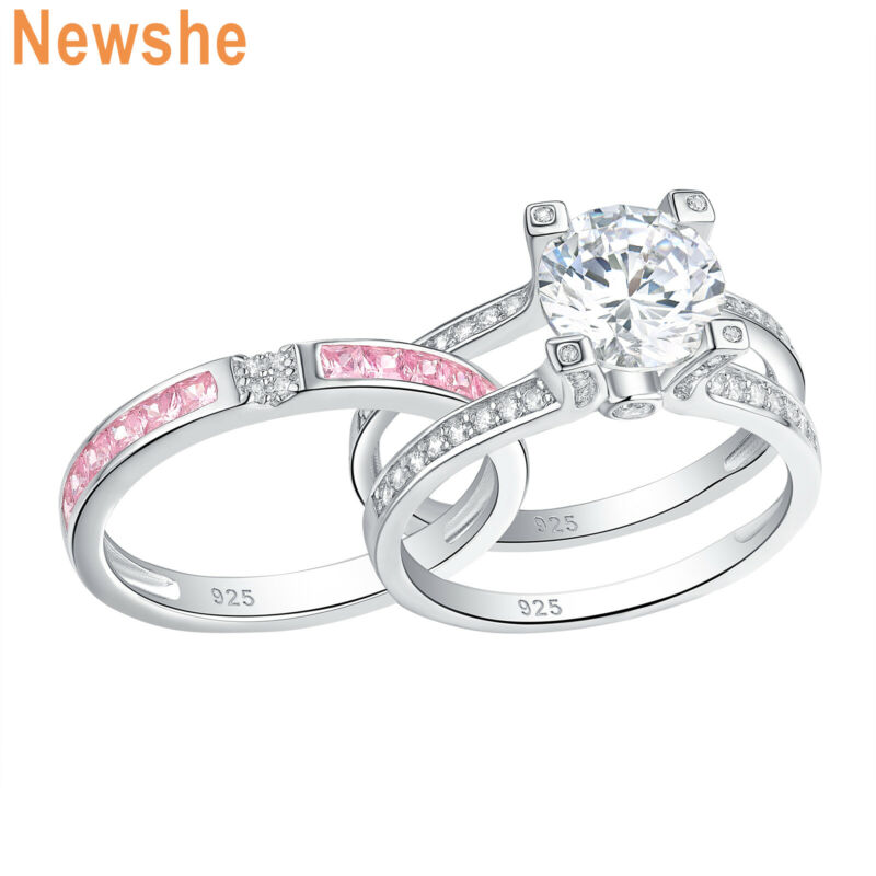 Newshe Wedding Engagement Ring Set 925 Sterling Silver Pink Sapphire Round Cz
