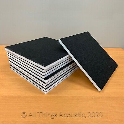 "10 Pack Set Acoustic Absorption Panel, 12"" X 12"" X 0.5"" Black on White"