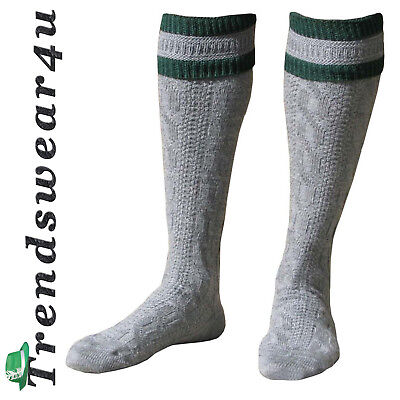 Oktoberfest Trachten Socks German Bavarian Lederhosen Gary/Green Stripes - Lederhosen Socks
