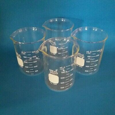 4 Pyrex 1000-600 Brand 1000 Griffin Low-form Graduated Beakers 600ml