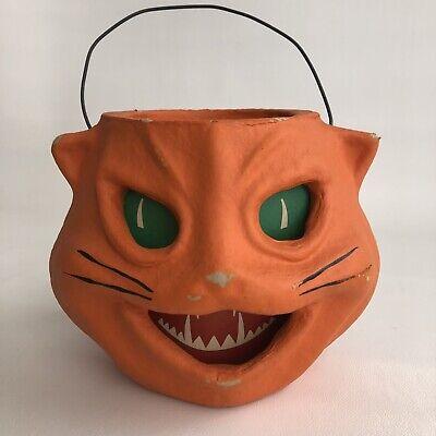 VINTAGE 1997 SEASONS GONE BY HALLOWEEN PAPER MACHE ORANGE CAT JOL CANDY PAIL