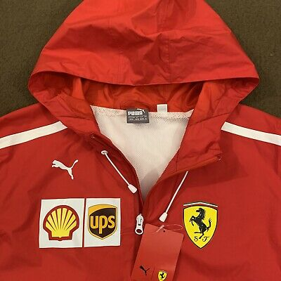 Mens PUMA Red Scuderia Ferrari Wind Rain SF Team Jacket Medium NWT 762365-01