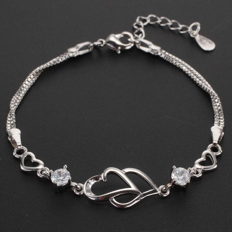 Jewellery - Xmas Valentine Open Heart 925 Sterling Silver Bracelet Charm Jewellery Womens