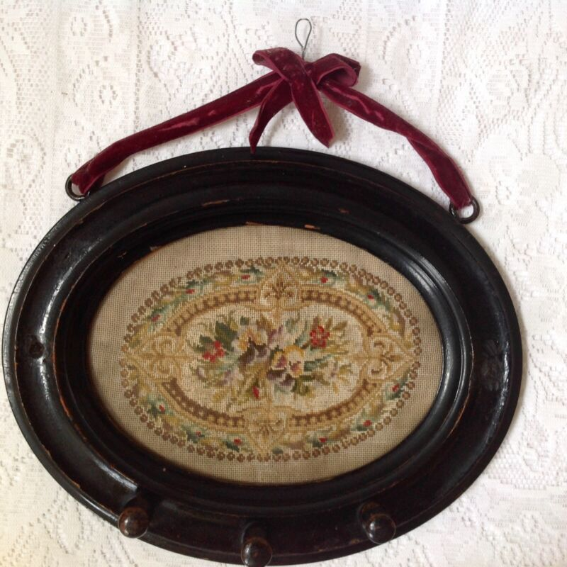 Mid Victorian Embroidery, Painted Black Wood Frame Peg Clothes Hanger