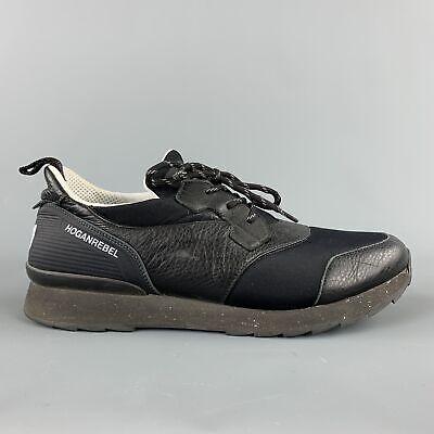 HOGAN Rebel Size 10 Black Mixed Materials Nylon Lace Up Sneakers