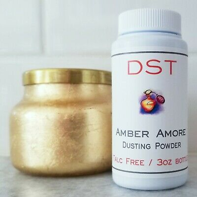 AMBER AMORE Handmade Scented Body Dusting Powder TALC FREE 3oz Amber Dusting Powder