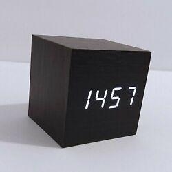 Tzou Cube Wood LED Alarm Clock - Time Temperature Date- Sound Control