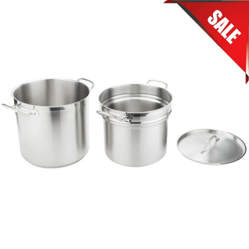 16 Qt. Stainless Steel Silver Restaurant Induction Ready Double Boiler W/ Cover