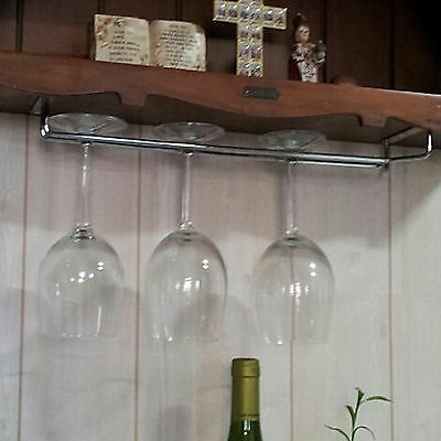 Hanging Wine Glass Rack Drinking Glasses Storage Under Cabinet Space Saver hold