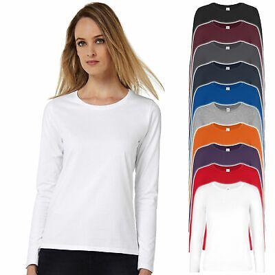 08 Shirt (B&C: Damen Longsleeve T-Shirt #E190 LSL Baumwolle Jersey ÖkoTex XS-3XL TW08T NEU)