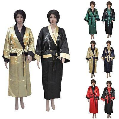Kimono Damen Herren schwarz rot grün gold dunkelblau lang asiatisch Morgenmantel
