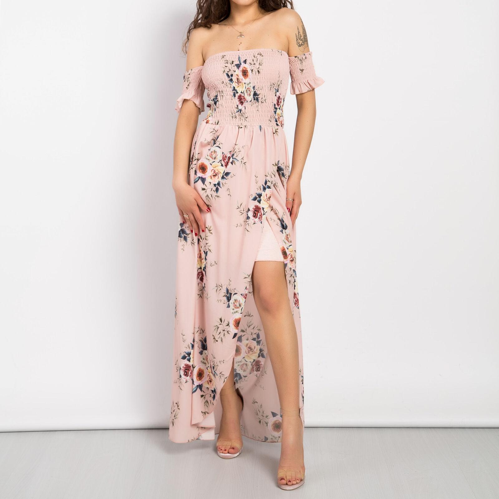 Vestito donna abito lungo fiori floreale spacco gonna svasata top scollato 10019