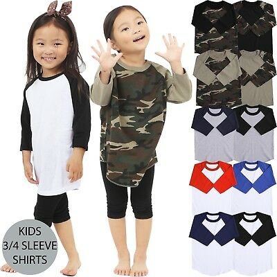KIDS Baseball T Shirts RAGLAN Tee 3/4 Sleeve Jersey Boys Girls Baby High Quality