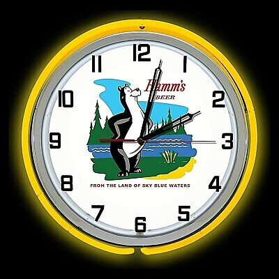 """19"""" Hamm's Beer Land Of Sky Blue Water Sign Yellow Double Neon Clock Man Cave"""