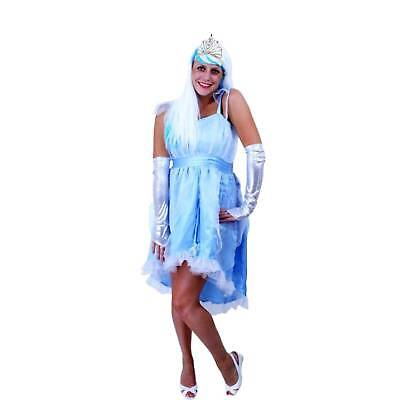 hell blaues schönes Prinzessin Kostüm Fee Gr. 38/42 Krone silberne Handschuhe - Silber Kostüm Handschuhe
