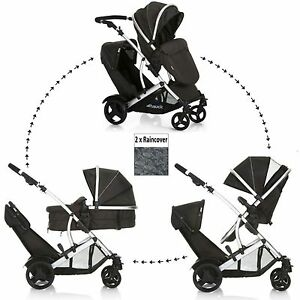 NEW HAUCK DUETT 2 DOUBLE TANDEM TWIN PUSHCHAIR PRAM STROLLER BUGGY+2 RAINCOVERS