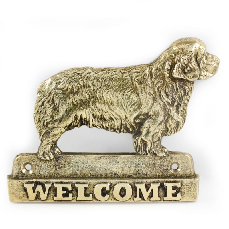 Clumber Spaniel - brass tablet with image of a dog, Art Dog USA