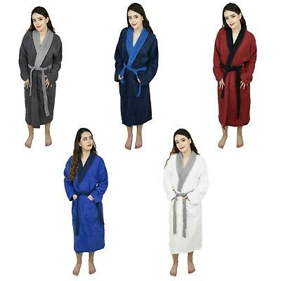 Womens Cotton Terry Cloth Bathrobe Contrast Collar Shawl Ladies Gown Spa Robe Cotton Spa Robe