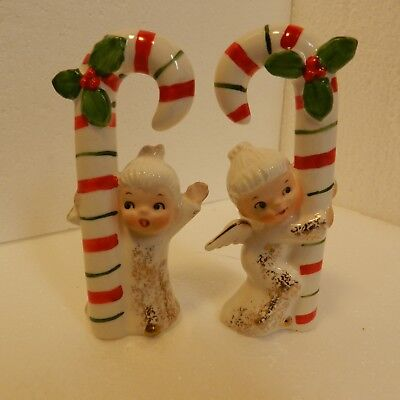 Very Cute Vintage Set of 2 Napco Ceramic Angels Holding Candy Canes, Scarce Set