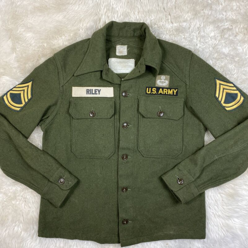 Vintage US Army Wool Nylon Shirt Jacket Button Up Field Shirt Size Small Patch