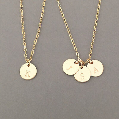 Stamped Initial Disc Necklace Available in Gold, Rose Gold, Silver (Gold Initial Disc)