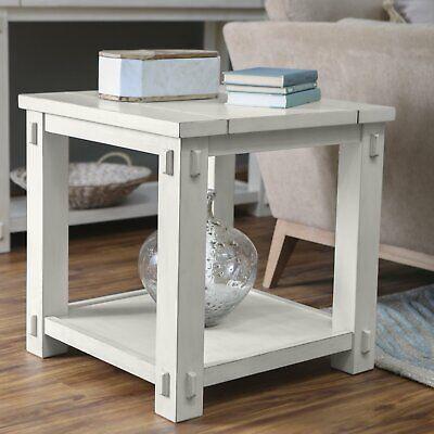 Square Side End Table Antique White Wood Coastal Farmhouse Lower Shelf Accent White Antique End Table