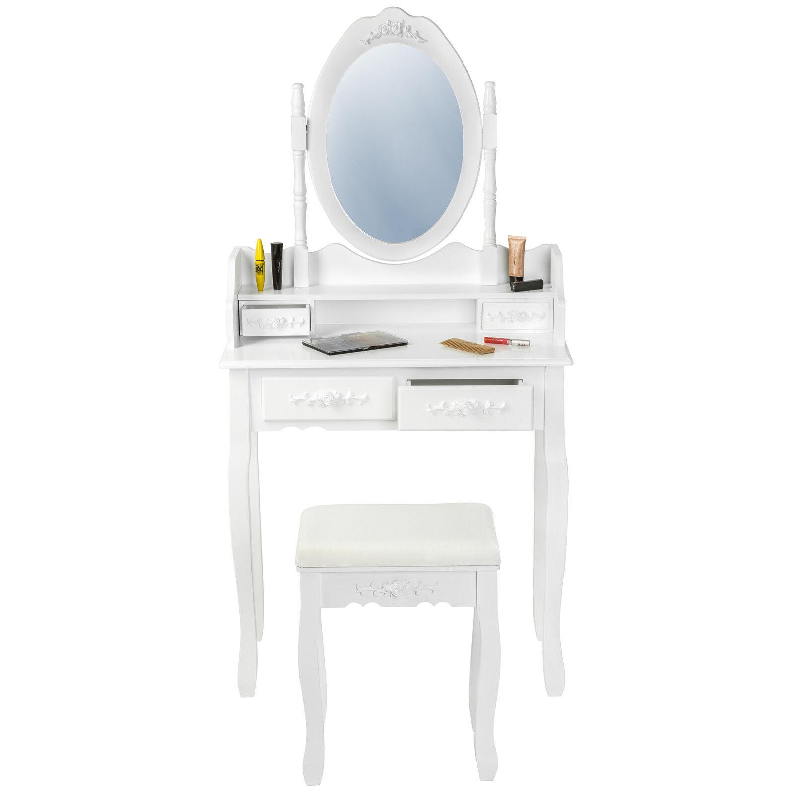 Coiffeuse meuble table de maquillage tabouret commode avec for Coiffeuse meuble avec miroir