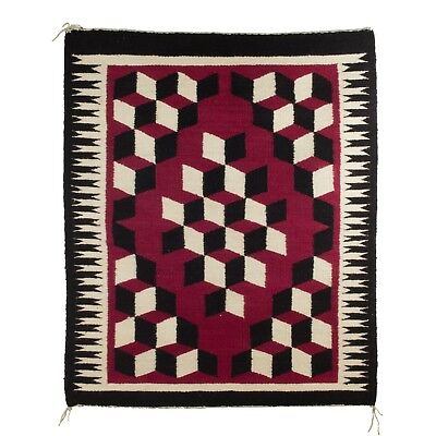 Navajo Pictorial rug weave with building block pattern after 1950 36 X 43 inches