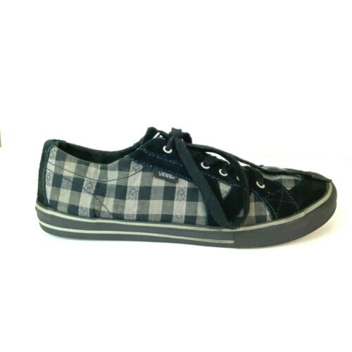 Vans Womens Size 10 Black Gray Checkered Shoes Lace Up Sneakers Skateboarding