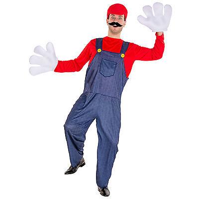 Herrenkostüm Super Klempner Mario Karneval Fasching Halloween Herren (Super Mario Halloween)