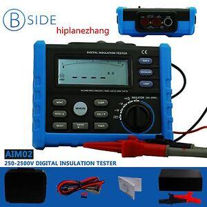 Digital Insulation Resistance Meter AC/DCV Tester 250-2500V Range 100G Ohm AIM02