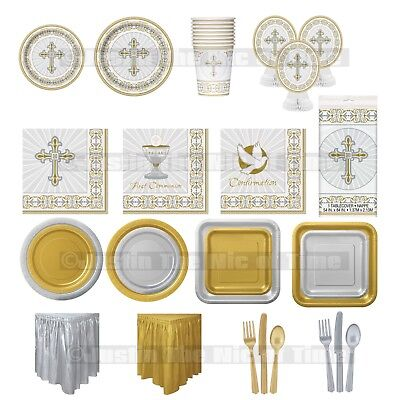 Communion Tableware (Christening First Communion Holy Cross SILVER Girls Boy Party Tableware)