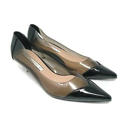 Gorgeous ZARA TRAFALUC Clear Black PATENT & SILVER KITTEN HEELS SHOES 37 US 7.5 for sale  Shipping to Nigeria