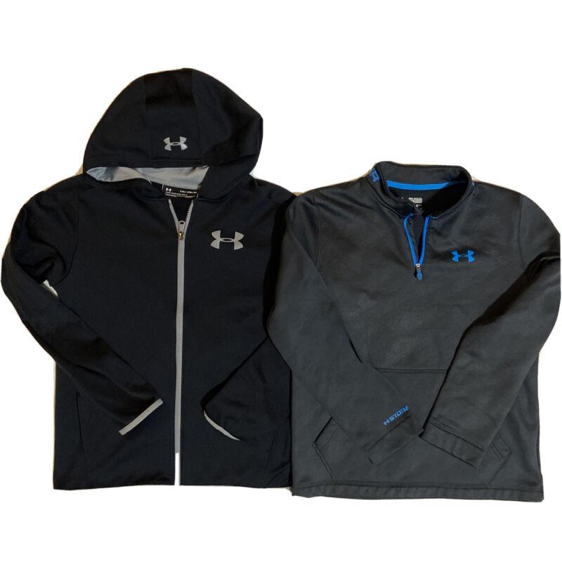Under Armour Storm Cold Gear Hoodie Zip Up Sweatshirt Lot 2 Boys YXL Black