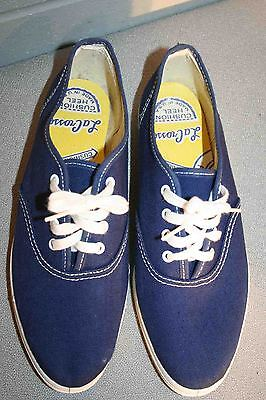 GIRLS 4.5 NOS Vtg 70s LaCrosse Pointed Toe NAVY BLUE CANVAS TENNIS SNEAKER Shoe