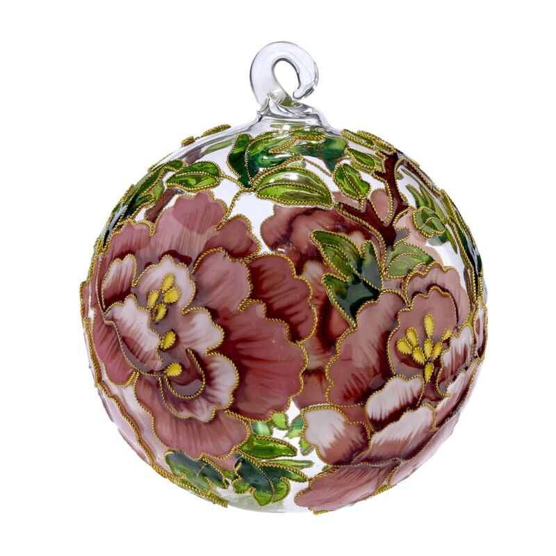 Peony Flower Cloisonne Glass Ball Christmas Tree Ornament Decoration New