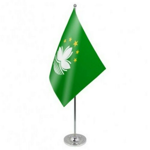 China Macau Region Satin & Chrome Premium Table Flag