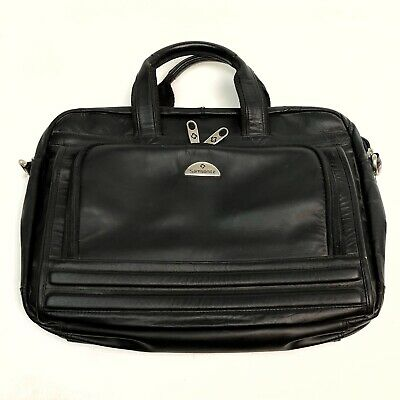 Samsonite Black Leather Briefcase Business Case Messenger Laptop Computer Bag