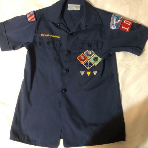Official BSA Boy Scout Cub sht slv uniform shirt patches Y Med Utah Ntl Pks Cncl
